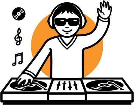 Party DJ at turntable illustration Фото со стока - 6709636