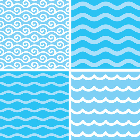 Marine motives - water wave seamless patterns