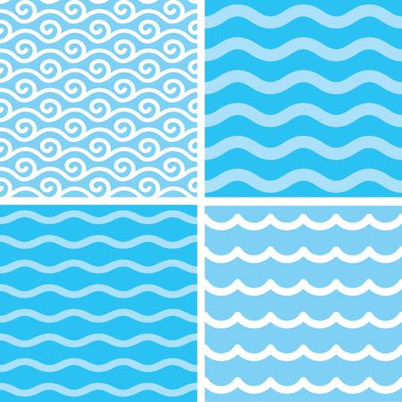 Marine motives - water wave seamless patterns