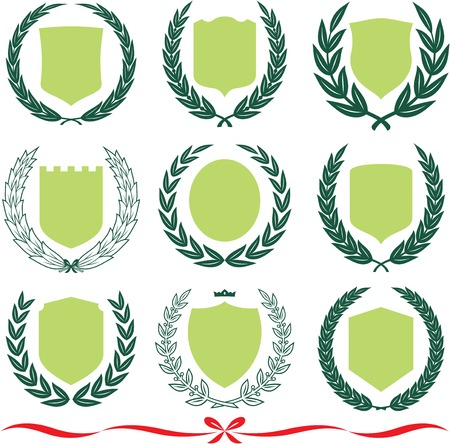 Insignia designs set – shields, laurel wreaths and ribbons. Vector illustrations isolated on white background Illustration