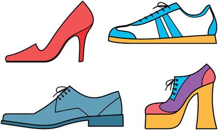 Schoenen voor vrouwen en mannen - vector illustratie  Vector Illustratie