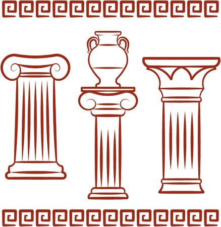 Antique art – Pillars and ceramics. Vector illustration