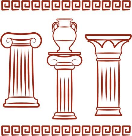 Antique art – Pillars and ceramics. Vector illustration Illustration