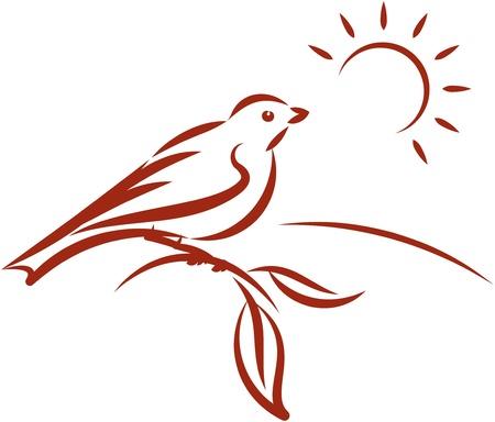 Little bird on a tree branch. Vector illustration