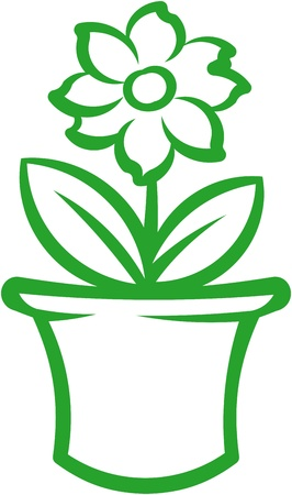 Flower pot with green plant. Vector illustration Фото со стока - 9667559