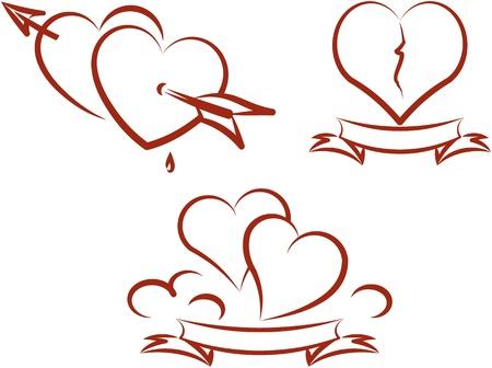 Amor y romance: San Valentín y corazones rotos. Ilustración vectorial