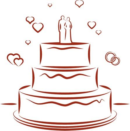 Wedding cake. Vector illustration