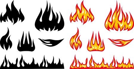 Vector Illustration Feuer Flammen Standard-Bild - 9667577
