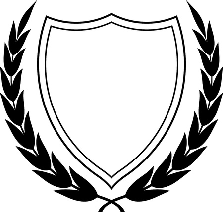 Vector coat of arms and laurel wreath isolated