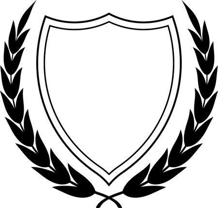 Vector wapenschild en lauwerkrans geïsoleerd