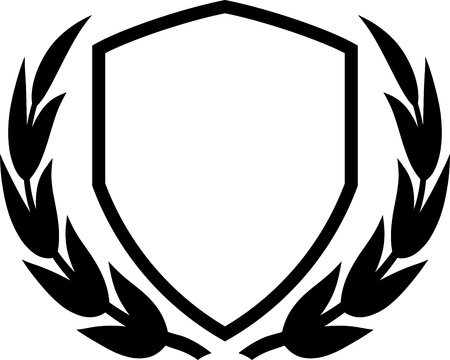 Vector shield and laurel wreath isolated on white