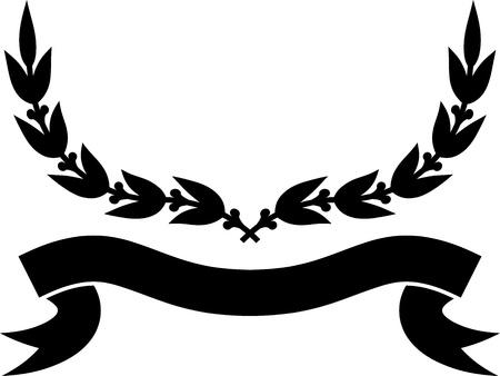 Vector illustration, - Ribbon and laurel wreath