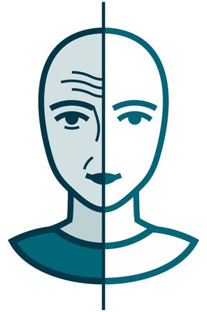 Oud en jong gezicht. Gerimpeld en glad. Voor en na cosmetische behandeling vector illustratie geïsoleerde Stockfoto - 43675587