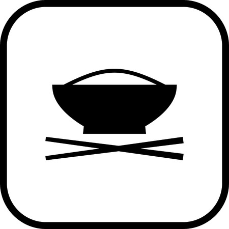 Cup of rice with chopstics. Asian meal vector icon isolated
