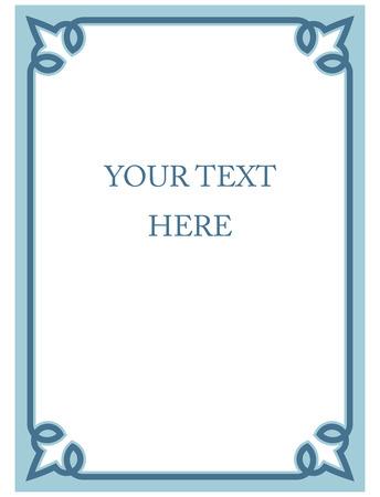 Blue border frame deco vector art simple line corner Ilustrace