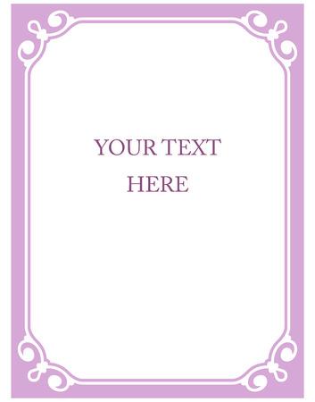 Pink purple border frame deco vector art simple line corner