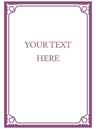 Marco de la frontera deco púrpura del arte del vector de color rosa esquina simple línea Foto de archivo - 43923399