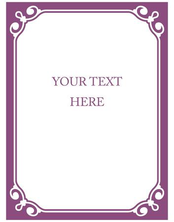 Border frame pink purple deco vector art simple line corner Çizim