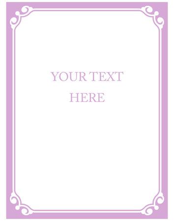 Border frame pink purple deco vector art simple line corner Иллюстрация