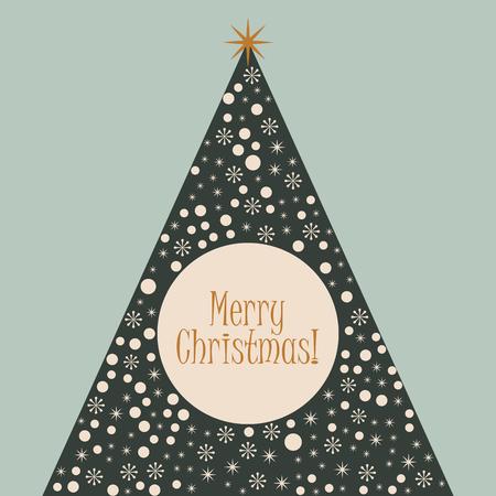 Christmas tree merry xmas retro background
