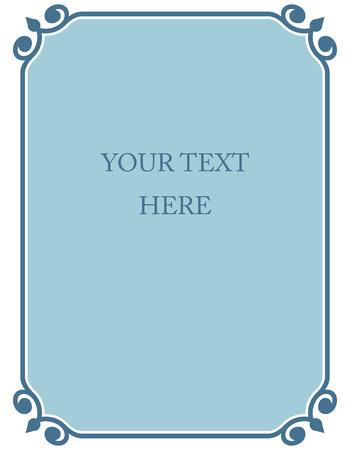 Blue border frame deco vector art simple line corner Ilustracja