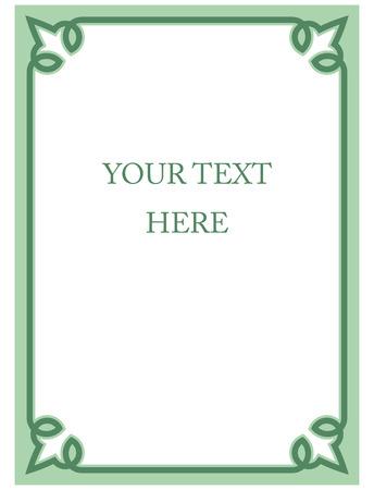 Mint green border frame deco vector art simple line corner