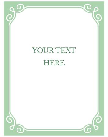 ミント緑の枠線フレーム デコ ベクトル アート シンプル ライン コーナー  イラスト・ベクター素材