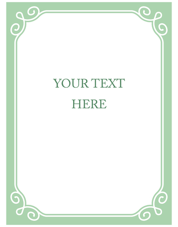 Mint green border frame deco vector art simple line corner