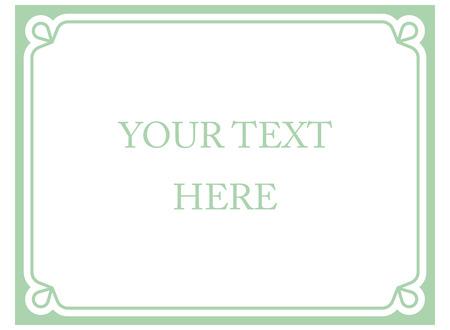 Green mint horizontal border frame deco. Vector art simple line corner signboard