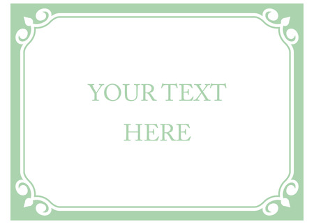 Green mint horizontal border frame deco. Vector art simple line corner signboard
