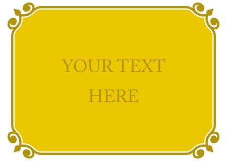 Yellow gold horizontal border frame deco. Vector art simple line corner signboard Ilustracja