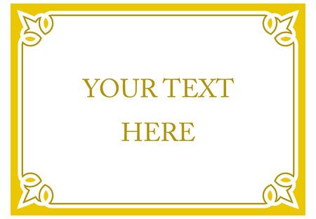 Yellow gold horizontal border frame deco. Vector art simple line corner signboard Illustration