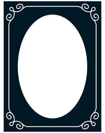 Oval border photo frame deco. Vector simple vertical line signboard Ilustracja