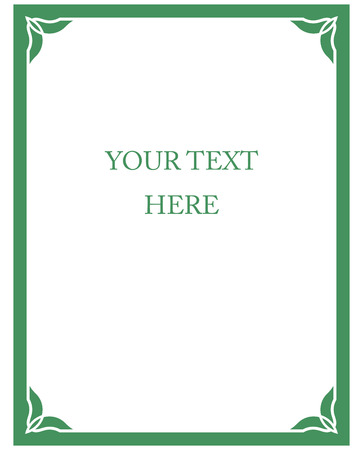 Green border frame deco vector art simple line corner