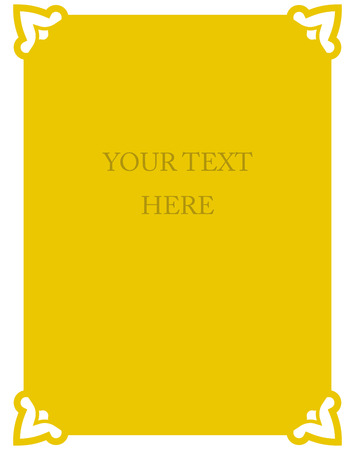 Yellow gold border frame deco vector art simple line corner