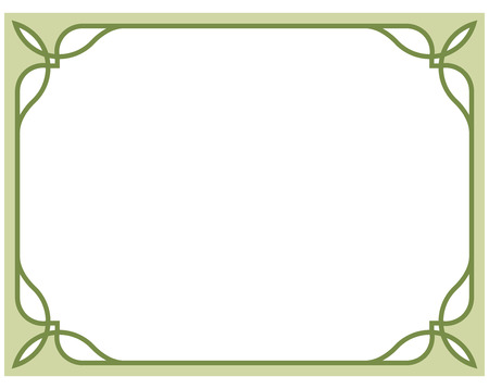 Olive green border frame deco vector art simple line corner