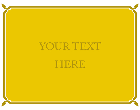 Yellow gold border frame deco vector art simple line corner