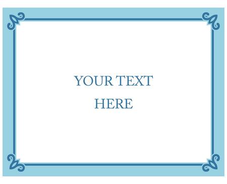 Blaue Grenze Rahmen deco Vektor-Label einfache Linie Ecke