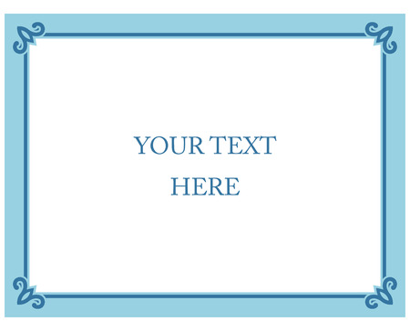 Blue border frame deco vector label simple line corner