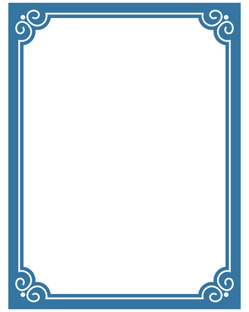 Frontera deco marco de vector de la etiqueta de la esquina azul de línea simple Foto de archivo - 52559177