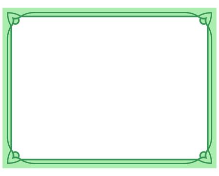 Groene grens kader deco vector kunst eenvoudige lijn hoek Vector Illustratie