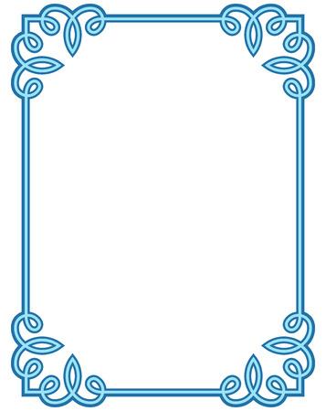 Bleu cadre deco étiquette vecteur frontière ligne simple coin
