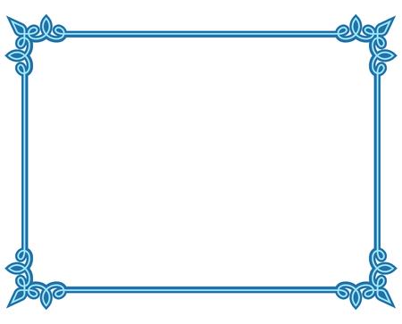 Blue border frame deco vector label simple line corner