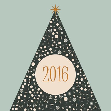 2016 Christmas tree merry Xmas retro background