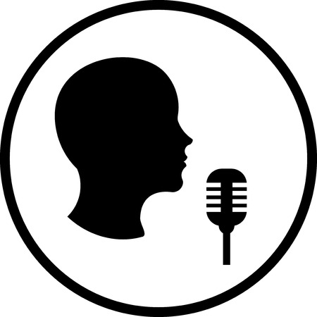 Man with microphone Vector icon isolated