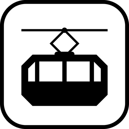 Cable way funicular Vector icon isolated Ilustrace