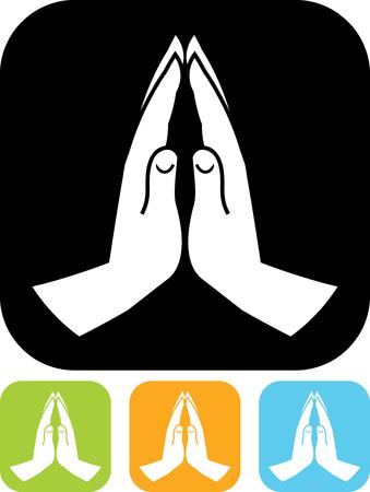 Het bidden handen vector icon Stock Illustratie