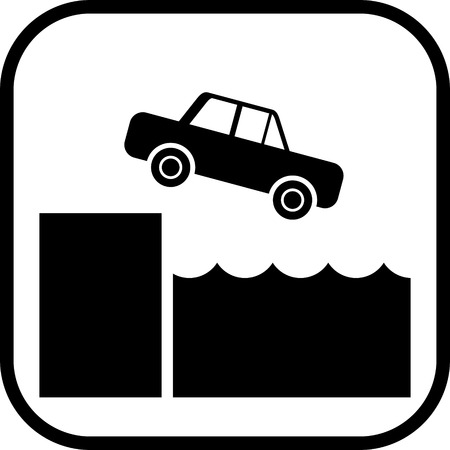 Car falling down off slope into the water sign Illustration