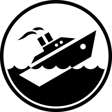 Sinking ship vector isolated Çizim