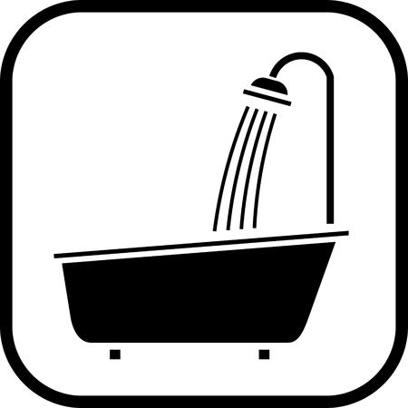 Bathroom shower vector icon